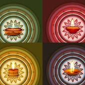 Krásné rangoli ornament vzor kolekce umění barevné diwal — Stock vektor