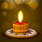 Vector Diwali lamp beautiful rangoli art background — Vetorial Stock