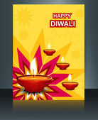 Celebration template brochure card vector colorful diwali diya d — Stock Vector