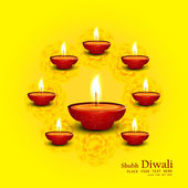Vector hindu festival happy diwali colorful decorative design — Cтоковый вектор