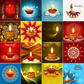 Vector beautiful diwali diya celebration 16 collection card vect — 图库矢量图片