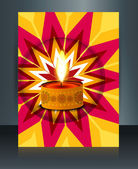 Vector diwali brochure template beautiful lamps illustration — Stock Vector