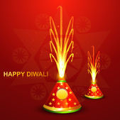 Beautiful diwali crackers hindu festival bright colorful vector — Stock Vector