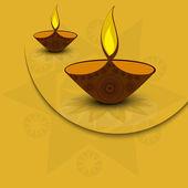 Vector illustration artistic diya on Diwali Holiday colorful bac — ストックベクタ