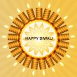 Stock Vector: Beautiful happy diwali shiny candle background vector
