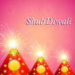 Vector Diwali shiny crackers indian festival colorful background — Stock Vector