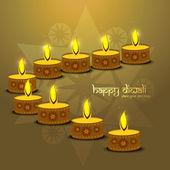 Beautiful religious diwali diya elements background vector — Stock Vector