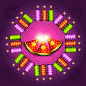 Beautiful shiny decoration vector diwali crackers background il — Stock Vector
