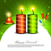 Beautiful decoration Happy Diwali diya shiny crackers colorful b — Stock Vector