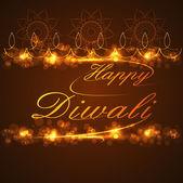 Bello texto feliz diwali para fondo de celebración festival — Vector de stock