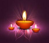 Shiny colorful celebration diwali oil lamp background illustrati — Stock Vector
