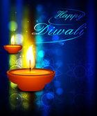 Beleuchtete Öllampe auf schönen Diwali Festival bunte backg — Stockvektor