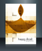 Beautiful template Brochure diwali celebration reflection vector — Vetor de Stock