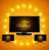Led tv screen beautiful happy diwali celebration reflection vect — Stock Vector