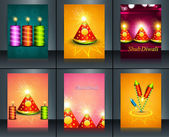 Beautiful decoration Happy Diwali diya festival crackers brochur — Stock Vector
