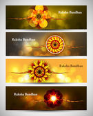 Raksha Bandhan celebration colorful four headers or banners vect — Stock Vector