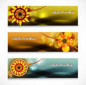 Shiny headers or banners Raksha Bandhan celebration colorful des — Stock Vector