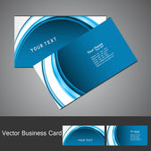 Professional business card template blue wave visiting card set — Stock Vector
