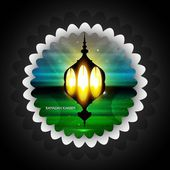 Ramadan Kareem Arabic lamp with light colorful background vector — Stock Vector
