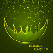 Celebration Ramadan Kareem religious mosque and moon green color — Stock Vector #35169039