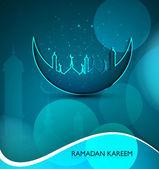 Mosque and moon beutiful Ramadan Kareem religious blue colorful — Stock Vector