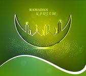 Mosque and moon beutiful Ramadan Kareem green colorful wave ill — Stock Vector