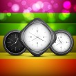 Shiny clock colorful rainbow vector background — Stock Vector