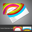 Abstract colorful rainbow wave business card set vector — Stock Vector