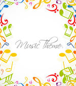 Abstract music notes stylish multicolorful white background illu — Stock Vector