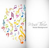 Abstract music notes colorful vector background illustration — Stock Vector