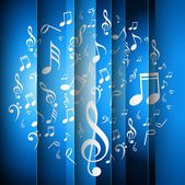 Abstract music notes bright blue colorful background vector — 图库矢量图片
