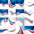 4th july american independence day fantastic flag 16 wave set co — Stock Vector #35711483
