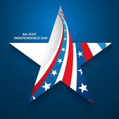 4th July American Independence Day star in American Flag blue ba — Stock Vector