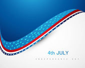 4th july american independence day wave vector design — Stock Vector