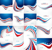 4th july american independence day fantastic flag 16 wave set co — Stock Vector