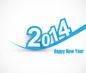 Happy new year 2014 wave blue colorful vector — Stock Vector