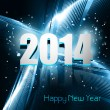 Happy new year 2014 reflection blue colorful wave design vector — Stock Vector