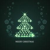 Parlak yıldızlar Noel ağacı yansıma arka planı renkli Il — Stok Vektör