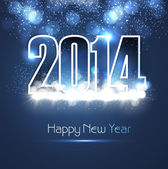 New year 2014 shiny blue colorful fantastic background vector — Vector de stock