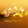 Elegant shiny colorful background design for 2014 happy new year — Stock Vector