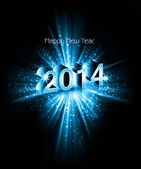 Vector celebration colorful swirl wave happy new year 2014 backg — Stockvektor