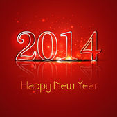 New Year 2014 reflection colorful stylish holiday greeting card — Vector de stock