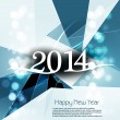 Vector Happy New Year 2014 blue colorful swirl wave creative bac — Stock Vector #37992189