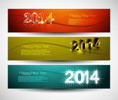 2014 New year colorful three headers and banners set vector desi — Stock Vector