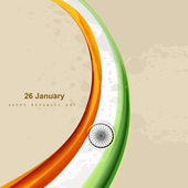 Vector indian flag beautiful stylish tricolor wave design — Vector de stock