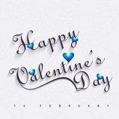 Bella felice giorno di san valentino cuore carta con lettering testo v — Vettoriale Stock
