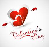Projeto de texto elegante lindo coração para dia dos namorados cartão vec — Vetorial Stock
