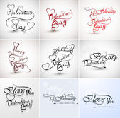 Valentine's hand lettering set collection love themed calligraph — Vecteur