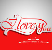 I Love You calligraphic headline text and happy valentine's day — Stockvector