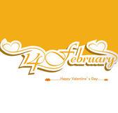 カリグラフィ 2 月 14 日見出し幸せなバレンタインデー テキスト コル — ストックベクタ